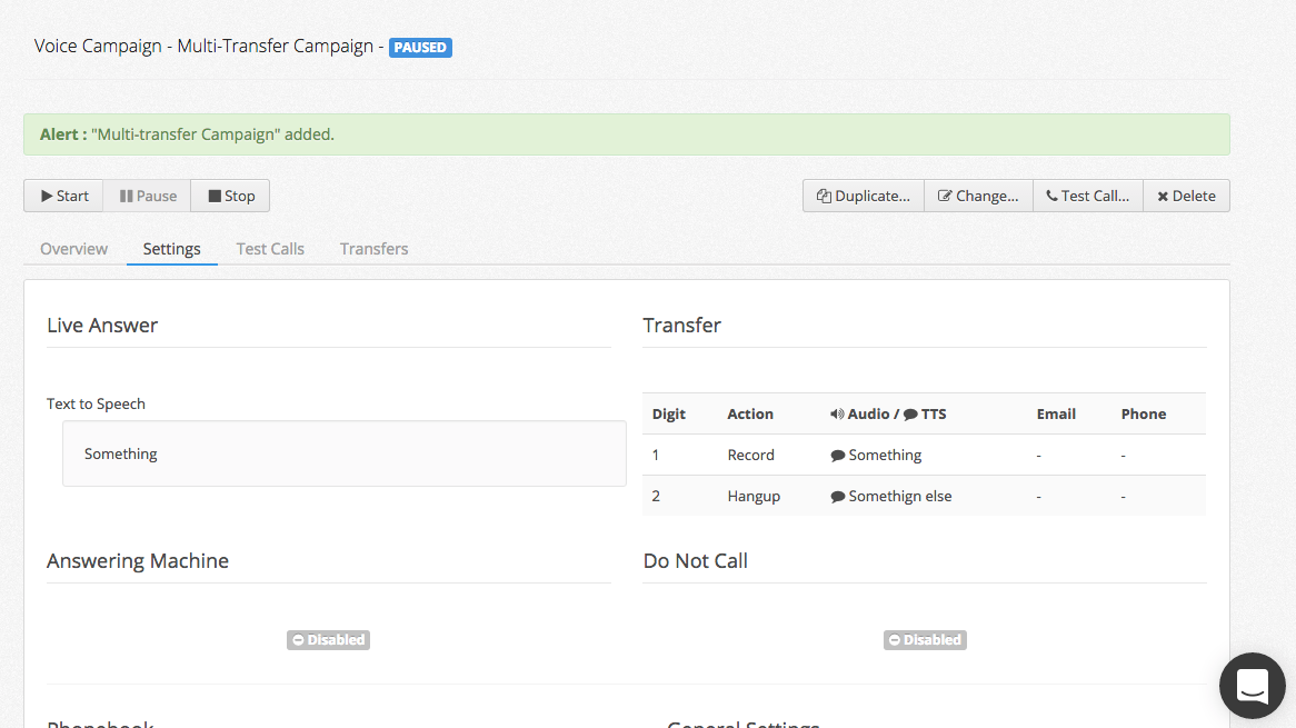 Voice broadcasting campaign settings