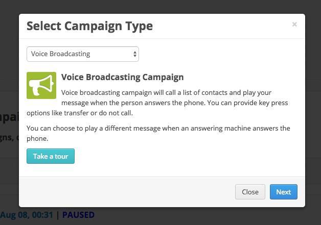 create voice broadcast campaign