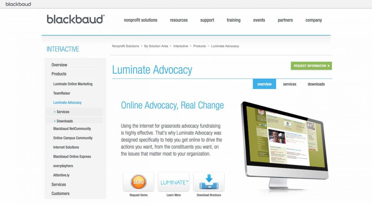 advocacy software luminate blackbaud