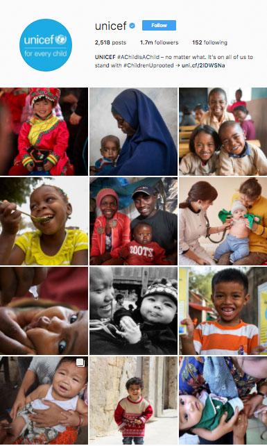visual storytelling UNICEF instagram