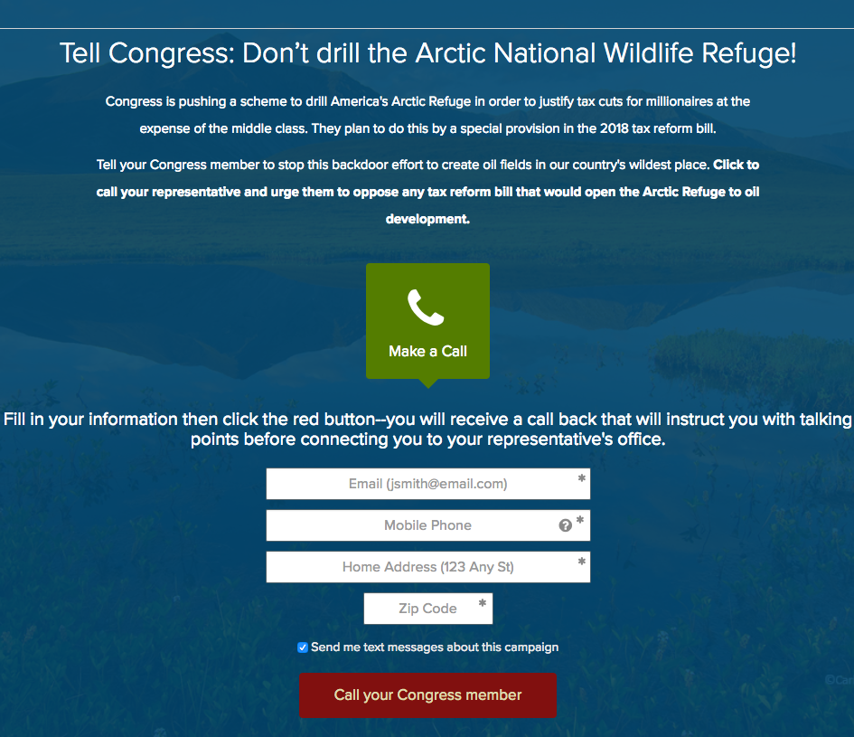 The Wilderness Society Action Fund- click to call