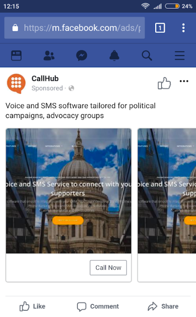 CallHub's click to call ad on Facebook