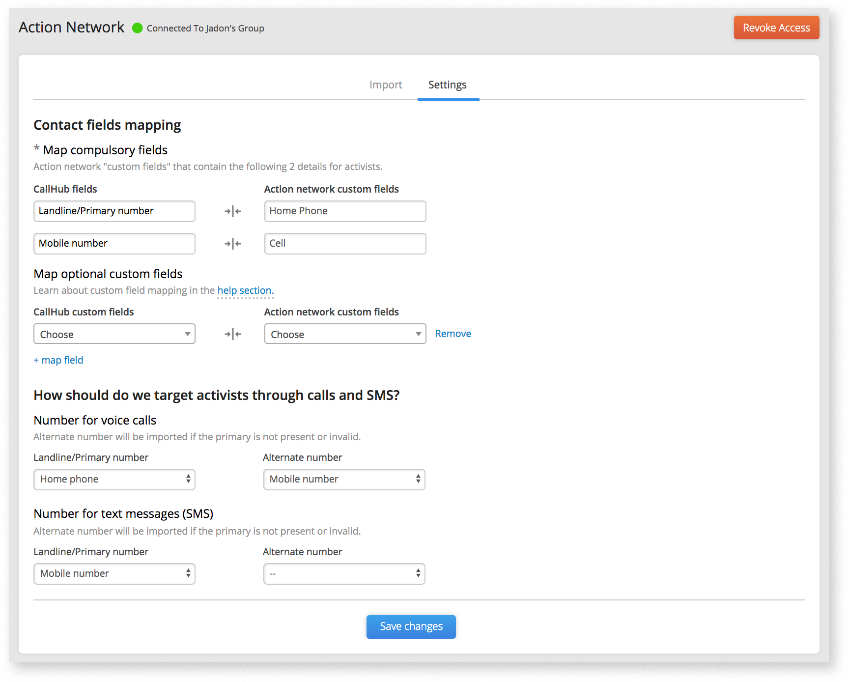 CallHub integrations flow settings