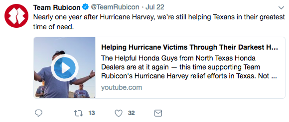 Team Rubicon's video on Twitter
