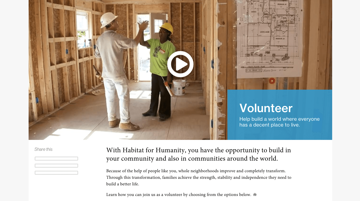 Recruiting Volunteers for Nonprofits_Habitat for Humanity Screenshot1