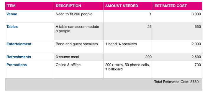 Budget breakup for a fundraising event