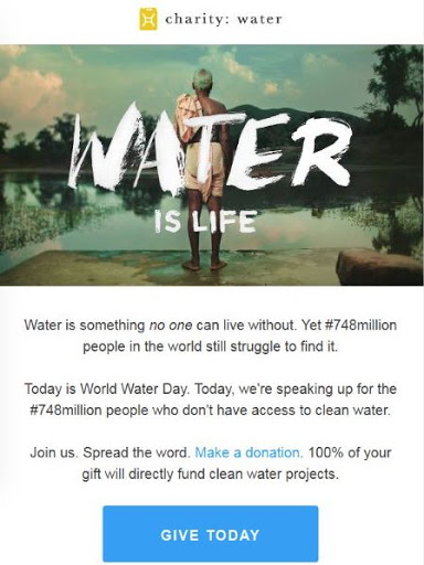 Call To Action From Charity: Water