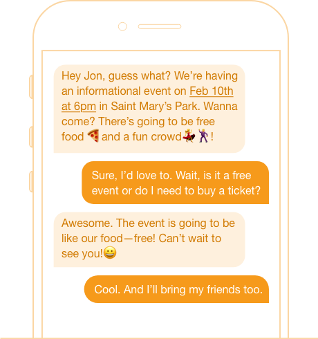 event invite peer to peer texting
