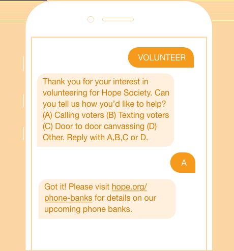 volunteer sign up opt in text messaging