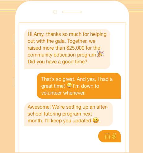volunteer update peer to peer texting
