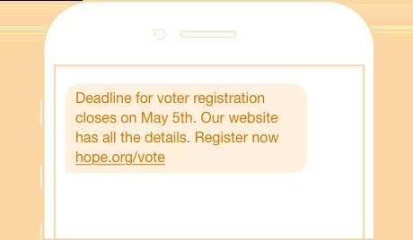 voter registration reminder sms broadcast