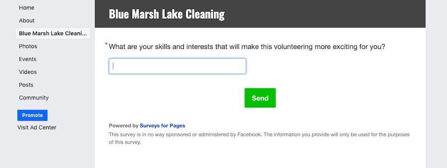 Facebook survey for volunteer recruitment