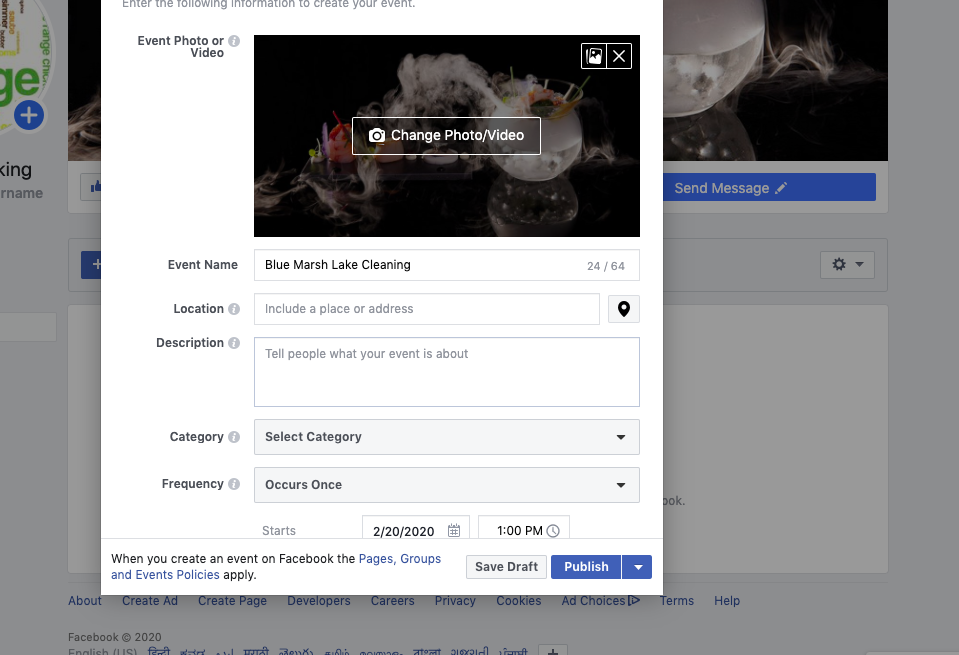 How to add an event in Facebook for volunteer recruitment