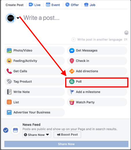 How to add polls in Facebook