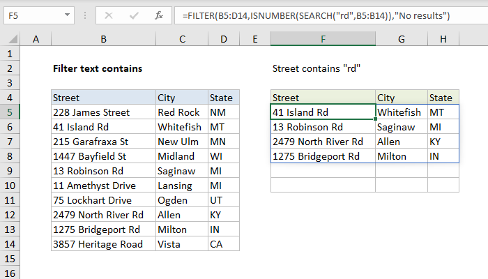 Filtering in spreadhseets with formula
