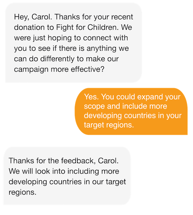 Getting feedback for small donor retention