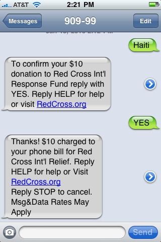 Haiti Text to give campaign