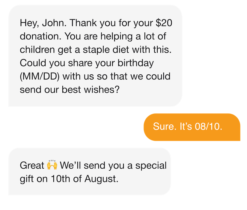 Personalized peer to peer texting for small donor retention