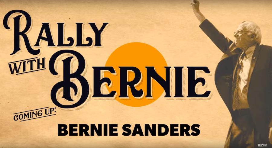 Bernie virtual rally break screen