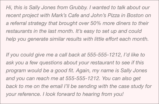 Business voicemail message example