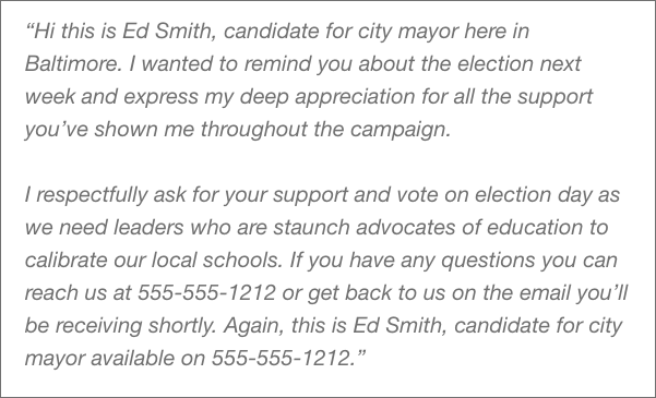 Political voicemail message example