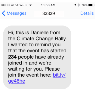 Reminder text for low turnout