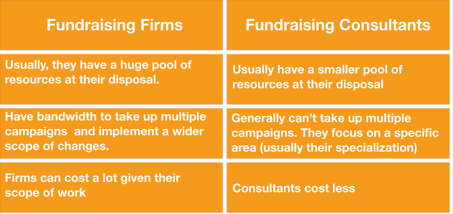 fundraising consultants and firms difference