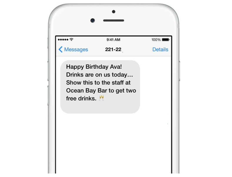 Promotional offers through text