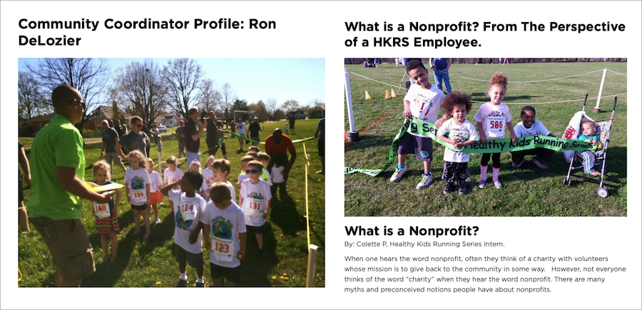 Nonprofit Marketing example - content