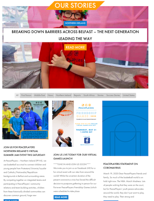 Nonprofit website blog example
