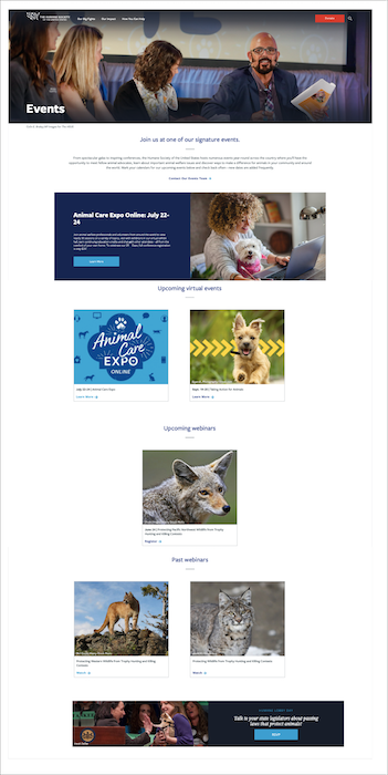 Nonprofit website events page example