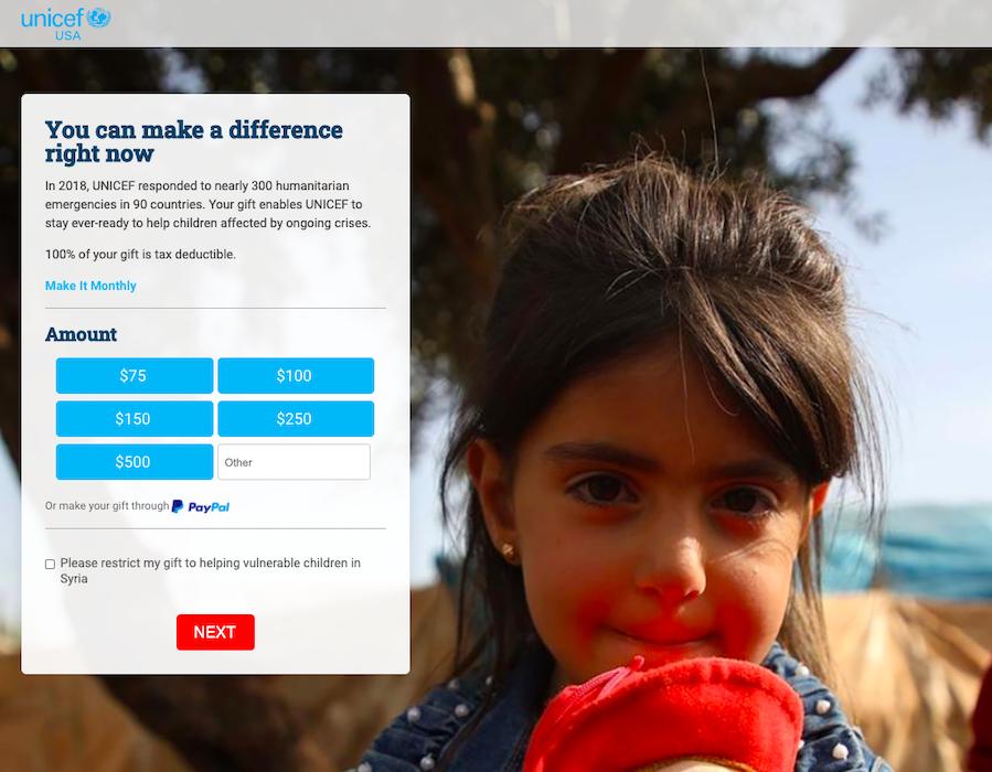 Unicef donation form