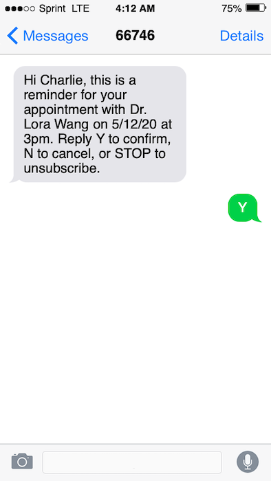 Appointment reminder text