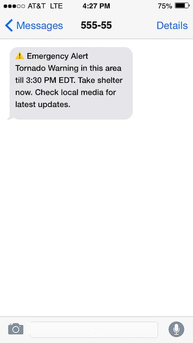 Emergency updates text