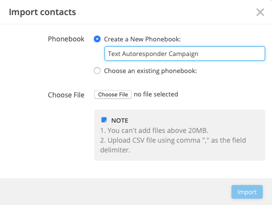Import contact in texting software