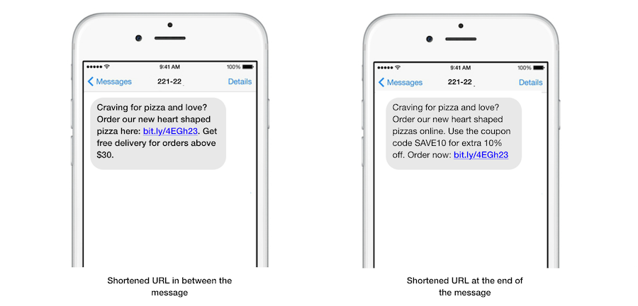 Link placement text message