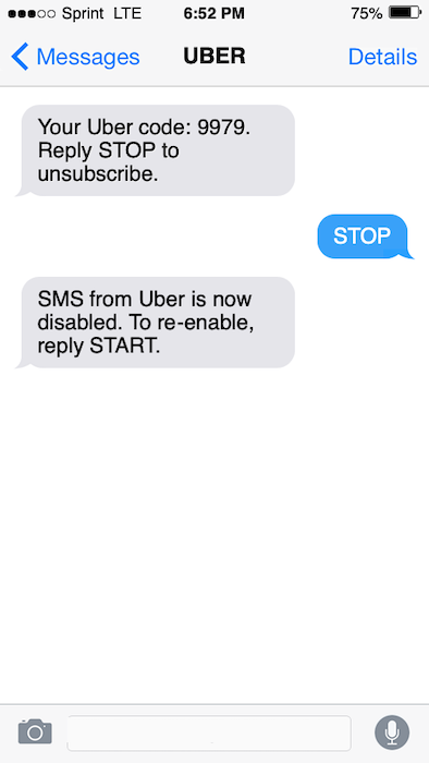 Text message advertising opt out