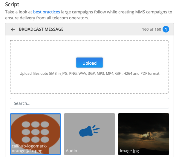 bulk MMS media upload