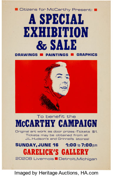 political campaign poster eugene mccarthy sample