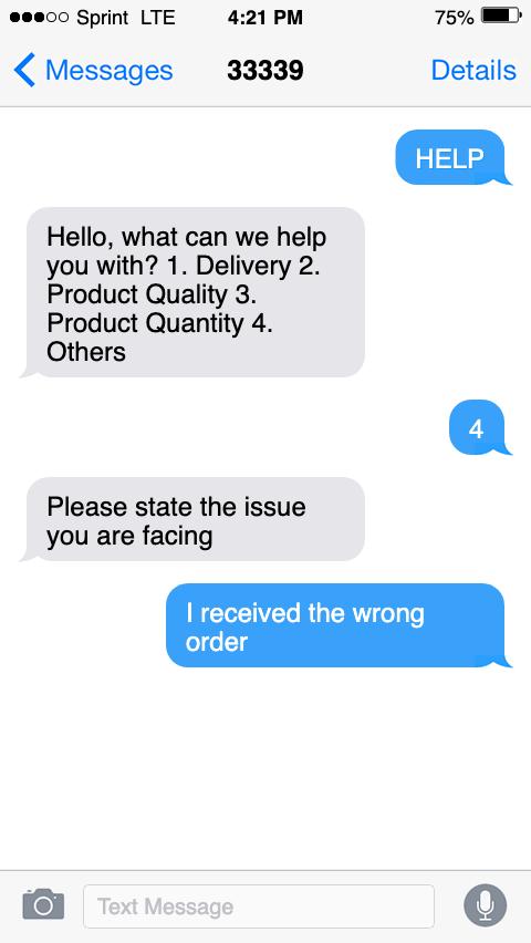 sms customer service order sample