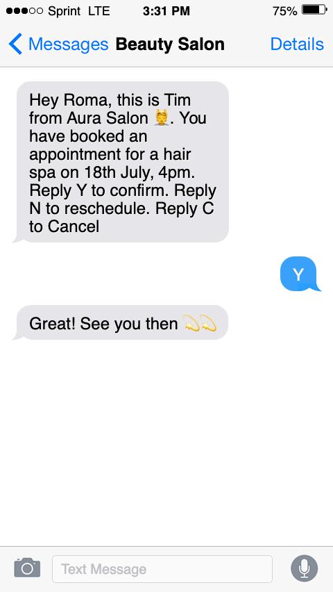sms customer service sample