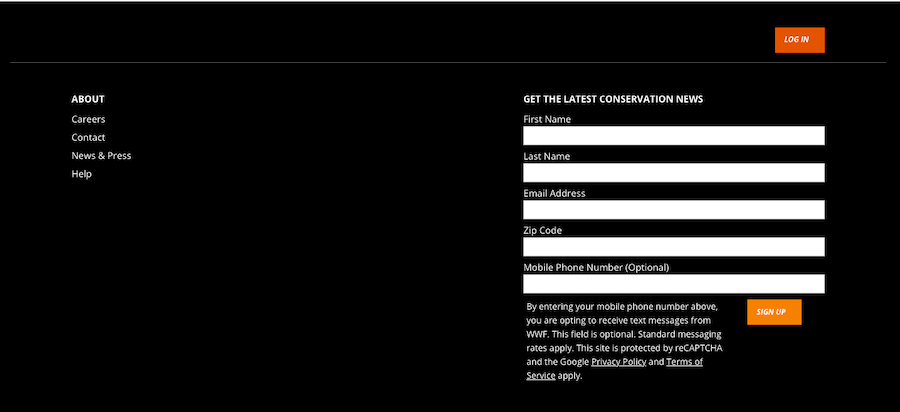 Email and text opt in form