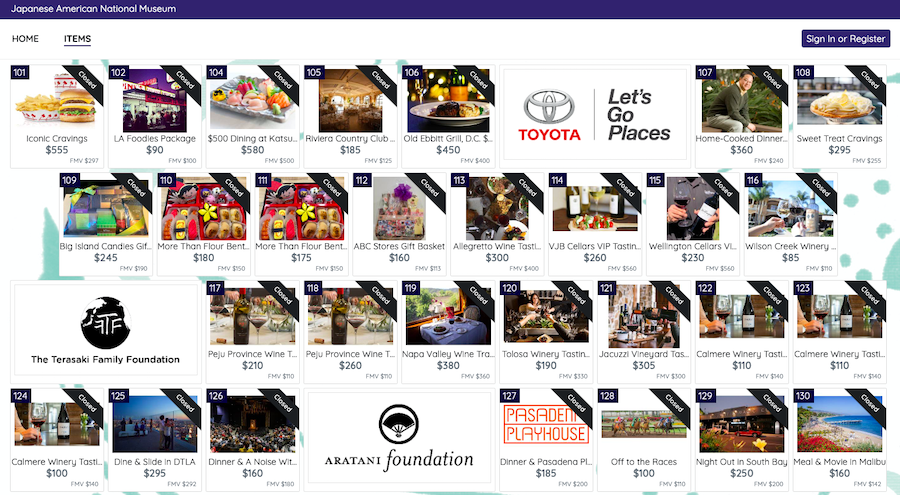 Online fundraising through auction