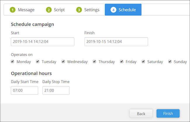 broadcast text reminder scheduling