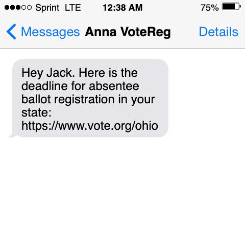 peer to peer text ballot chase