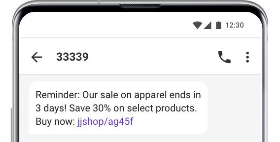 sale reminder text message example