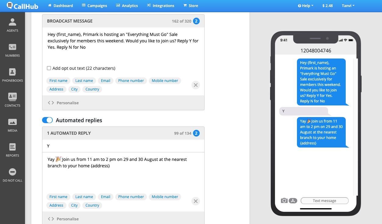 text blast marketing callhub auto replies