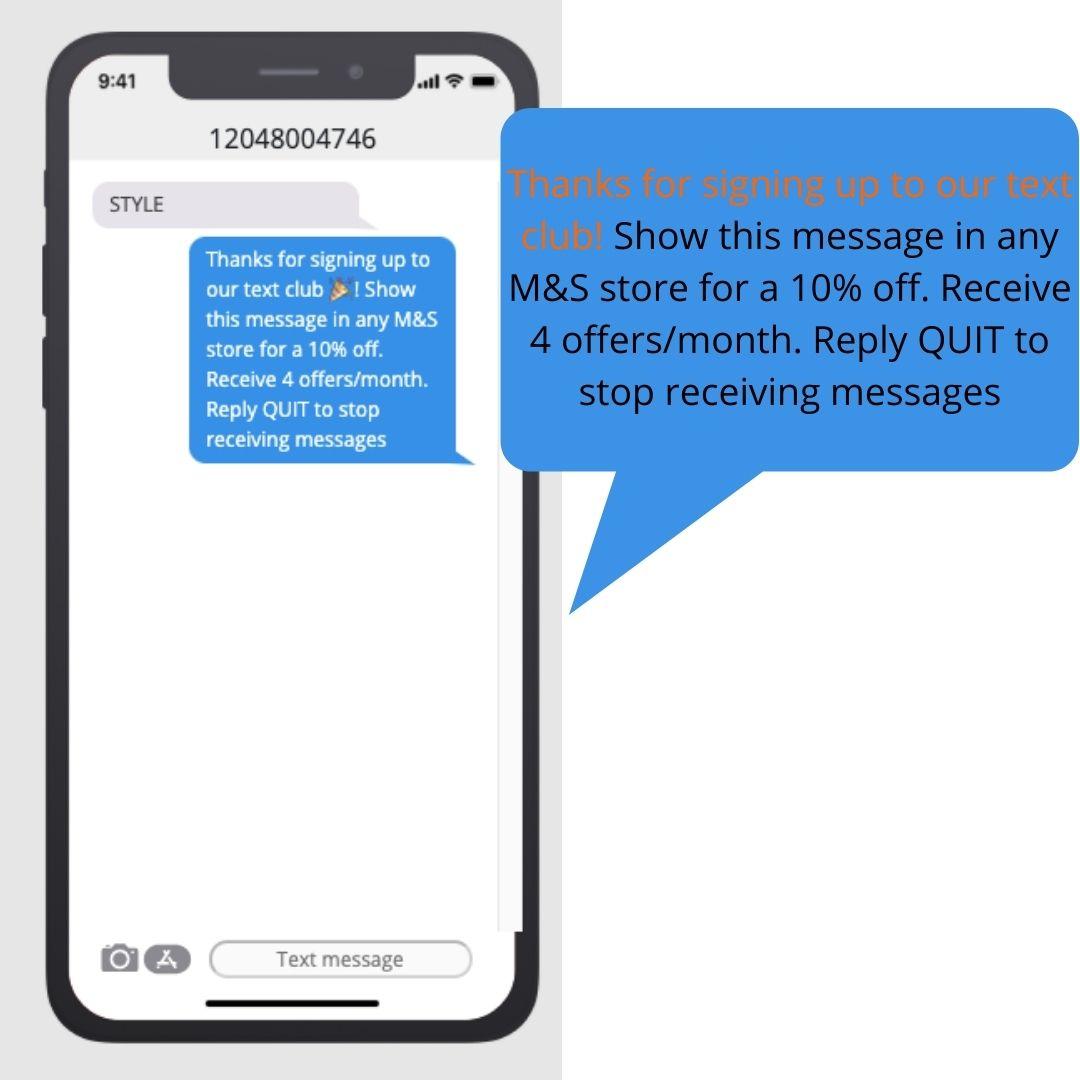 text blast marketing confirmation message