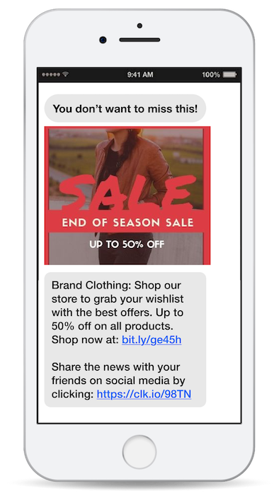 text blast marketing sale mass SMS example