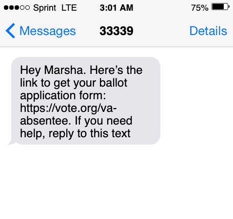 text from call center ballot form